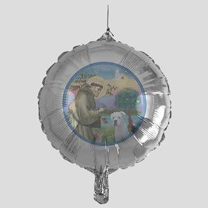 R-StFrancis-White Boxer (W) Mylar Balloon