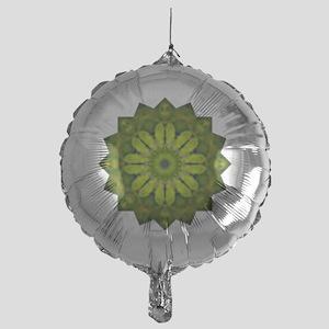 Green Flower Heart Chakra Mandala Yo Mylar Balloon
