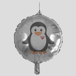penguin with heart Mylar Balloon