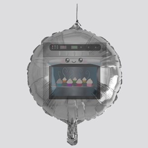 Cute Happy Oven with cupcakes Mylar Balloon