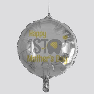 1st Mother's Day Elephant Yellow Balloon