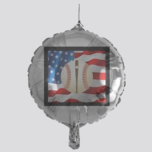 Baseball Ball On American Flag Balloon