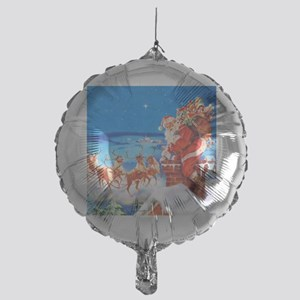 Santa and His Reindeer Up On a Snowy Mylar Balloon