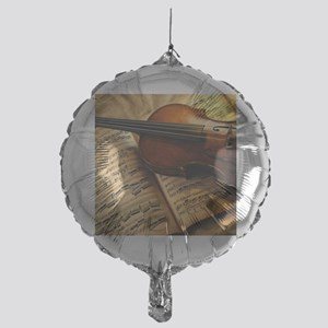 Violin On Music Sheet Mylar Balloon