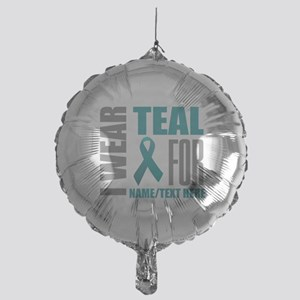 Teal Awareness Ribbon Customized Mylar Balloon
