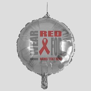 Red Awareness Ribbon Customized Mylar Balloon