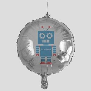 Custom Blue Robot Mylar Balloon