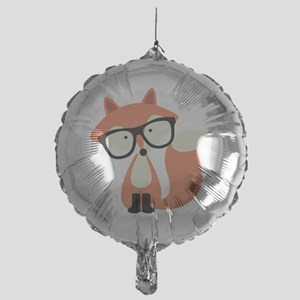 Hipster Red Fox Mylar Balloon