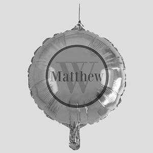 Gray Name and Initial Monogram Balloon