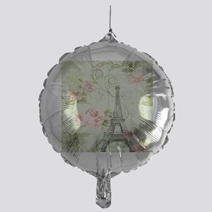 floral vintage paris eiffel tower Mylar Balloon
