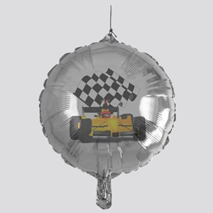Yellow Race Car with Checkered Flag Mylar Balloon
