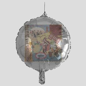 Vintage Western cowgirl collage Mylar Balloon