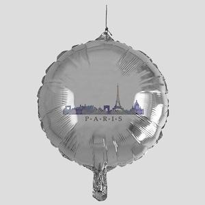 Mosaic Skyline of Paris France Mylar Balloon