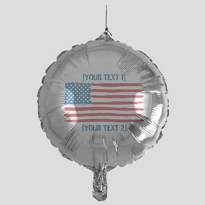 [Your Text] 'Handmade' US Flag Mylar Balloon
