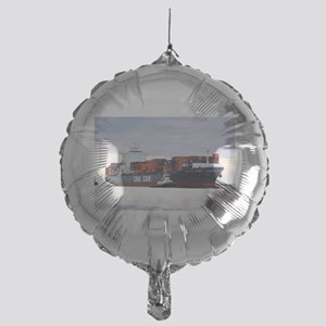 Container cargo ship and tug Mylar Balloon