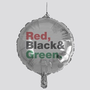 Red, Black and Green. Mylar Balloon