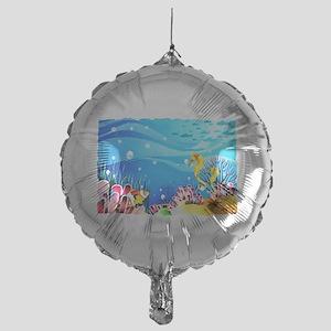 Undersea Coral, Fish Seahorses Mylar Balloon