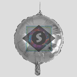 S - Letter S Monogram - Black Diamon Mylar Balloon
