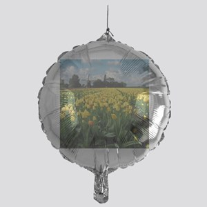 Dutch Windmill and Yellow Tulips Fie Mylar Balloon