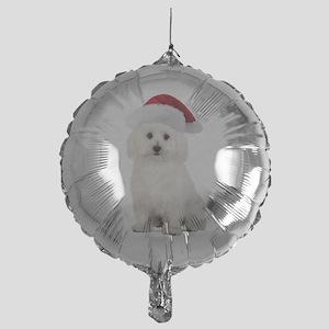 Bichon Frise Christmas Mylar Balloon