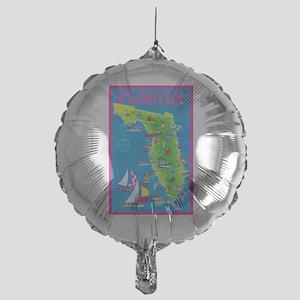 Florida Map Greetings Mylar Balloon