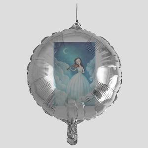 Girl with Moon and Violin Balloon