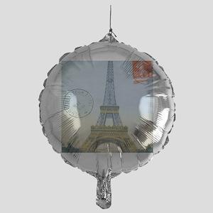 eiffelpostcardprint Mylar Balloon