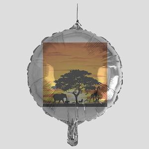 Wild Animals on African Savannah Sun Mylar Balloon