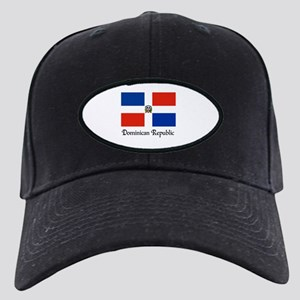 Dominican Republic Flag Design Black Cap