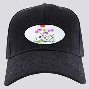 Flower Bunch Black Cap with Patch