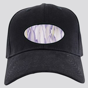 Abstract Orchid Painting Black Cap with Patch