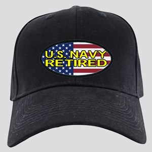U.S. Navy: Retired (American Flag) Black Cap