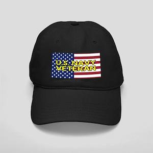 U.S. Navy: Veteran (American Flag) Black Cap