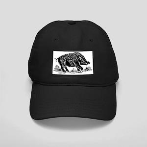 Wild boar, woodcut Black Cap
