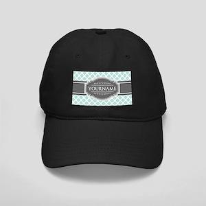 Mint and Gray Moroccan Quatrefoil Monogr Black Cap