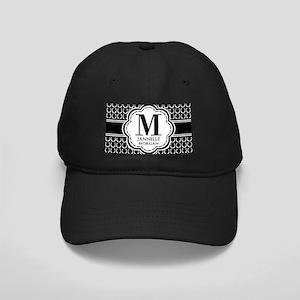 Black and White Custom Monogram Black Cap