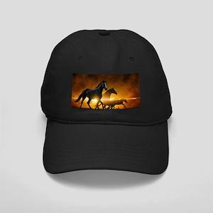 Wild Black Horses Baseball Hat
