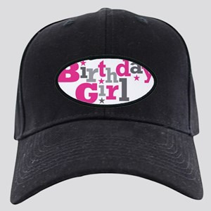 Pink Birthday Girl Star Black Cap