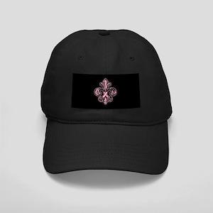 Pink Fleur Ribbon Black Cap