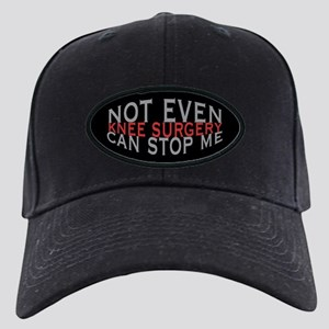 Knee Surgery Humor Black Cap with Patch