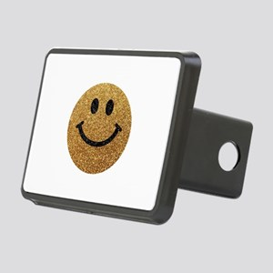 Gold faux glitter smiley face Rectangular Hitch Co