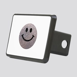 Silver faux glitter smiley face Rectangular Hitch