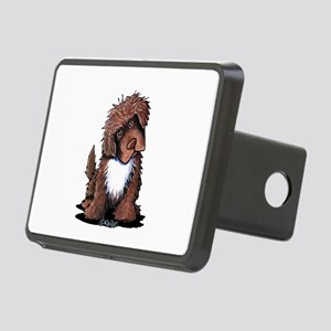 Brown & White Newfie Rectangular Hitch Cover