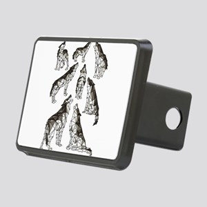 Geometric Howling Wolves Rectangular Hitch Cover