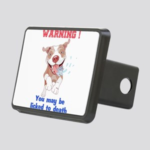 Warning Pitbull Licked to Rectangular Hitch Cover