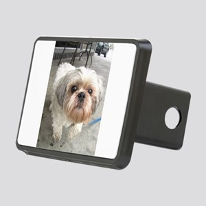 small dog at cafe Rectangular Hitch Cover