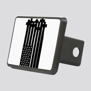 American Flag Crosses Rectangular Hitch Cover