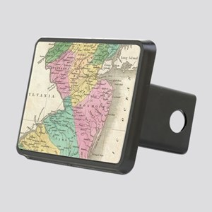 Vintage Map of New Jersey Rectangular Hitch Cover