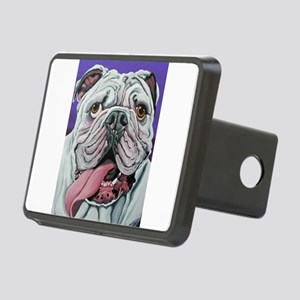 White English Bulldog Rectangular Hitch Cover