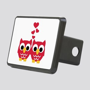 Red owls hearts Rectangular Hitch Cover